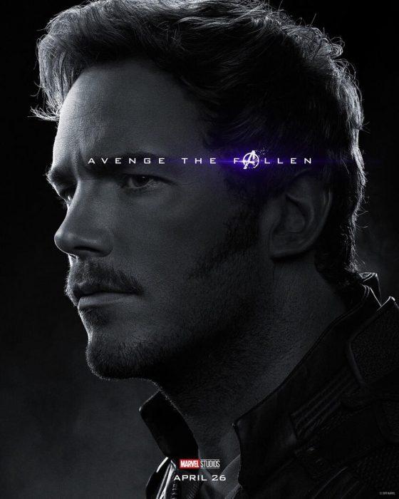 Hombre con nariz afilada, posando de perfil, Star Lord, Chris Pratt, Póster oficial de la película Avengers Endgame