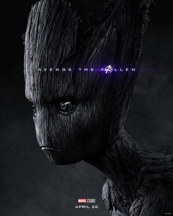 Dibujo de un árbol de madera triste, Groot, Vin Diesel, Póster oficial de la película Avengers Endgame