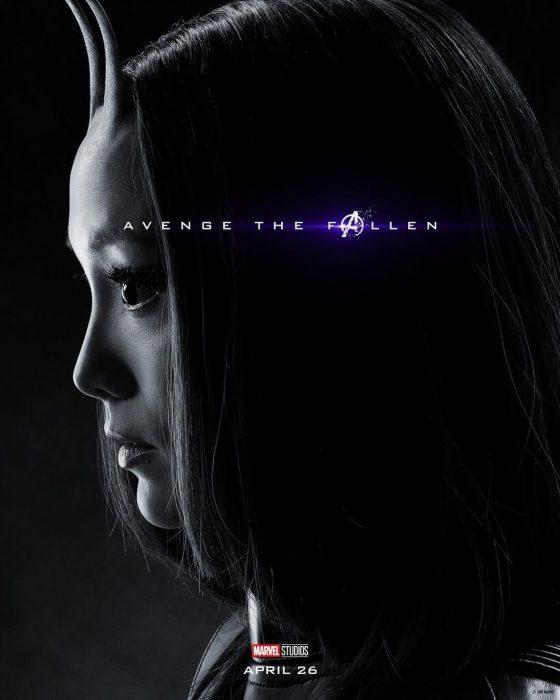 Chica con antenas y ojos grandes, de perfil, Mantis, Pom Klementieff, Póster oficial de la película Avengers Endgame