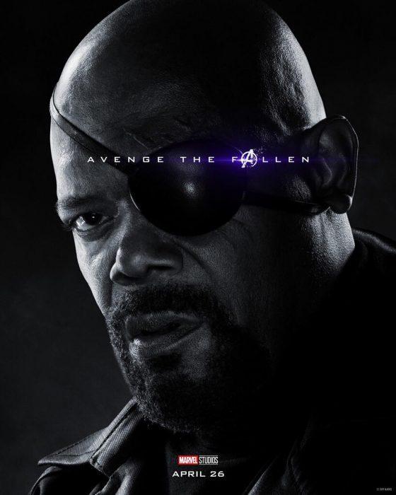 Hombre usando parche en un ojo, Nick Fury, Samuel L. Jackson, Póster oficial de la película Avengers Endgame