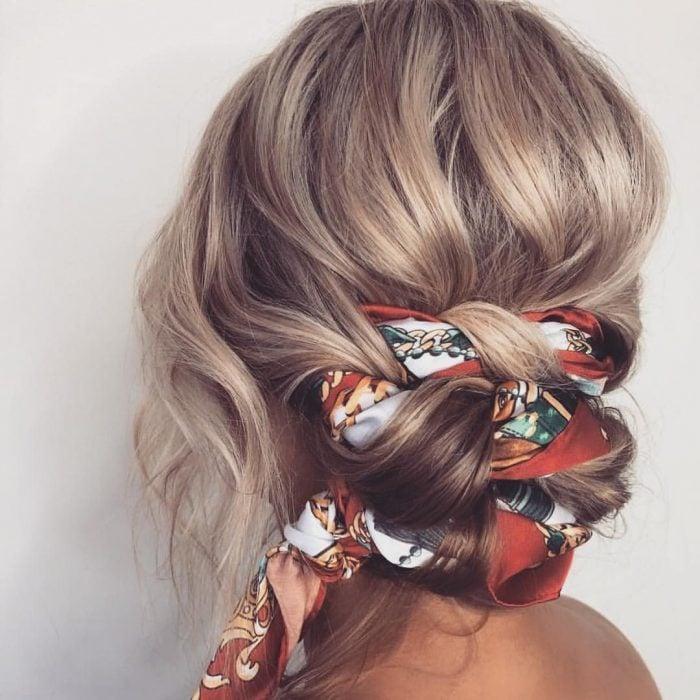 Girl wearing a bandana on her hair