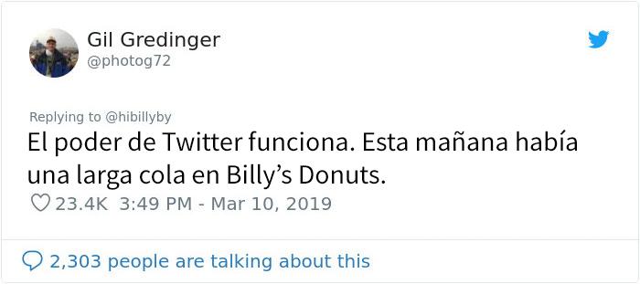 Comentarios en twitter sobre señor que vende donas en Huston