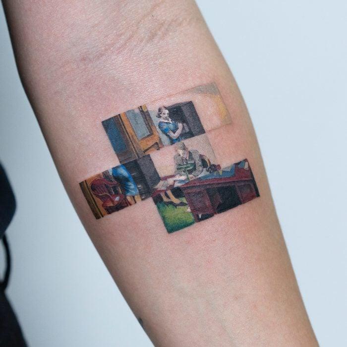 Tatuaje de pintura famosa en el brazo, Edward Hopper, Oficina por la noche