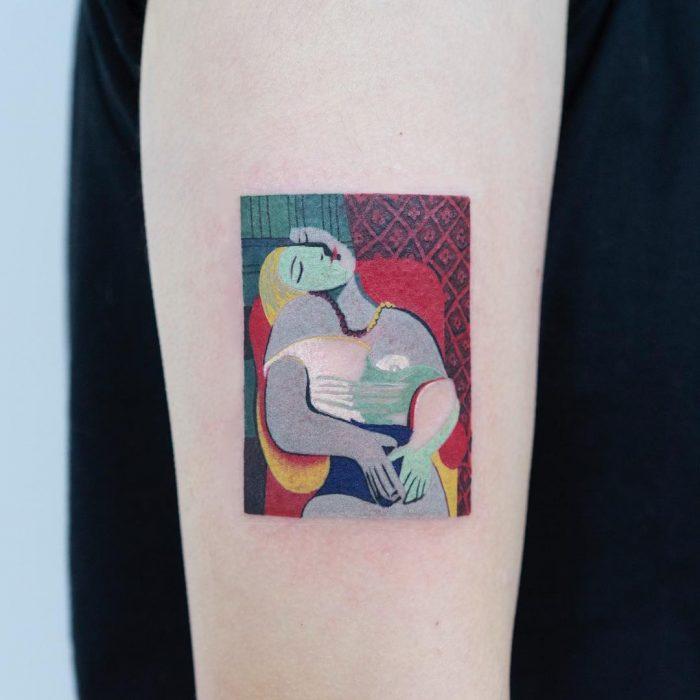 Tatuaje de pintura famosa en el brazo, Pablo Picassi, El sueño
