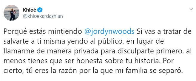 Khloé Kardashian escribiendo en su cuenta privada de Twitter sobre la entrevista que dio Jordyn Woods