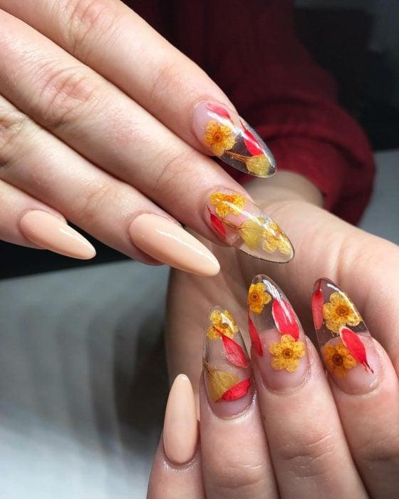 Manos de mujer con uñas largas en forma de almendra pintadas de rosa y transparentes con flores secas reales para la primavera