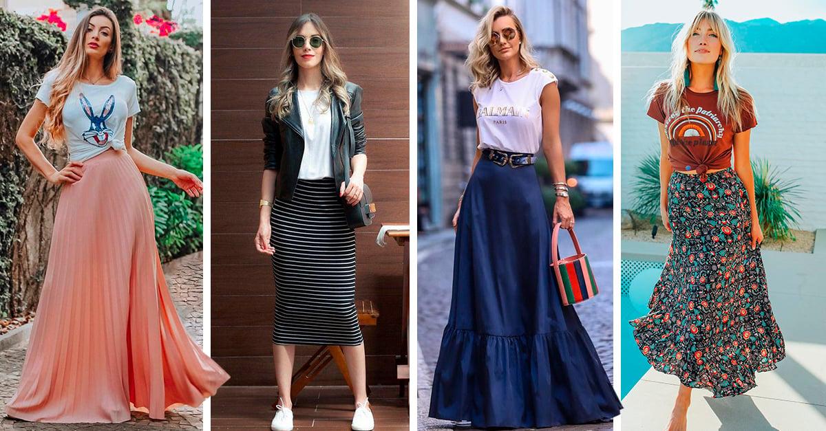 15 Ideas de outfits con faldas largas para que disfrutes el verano