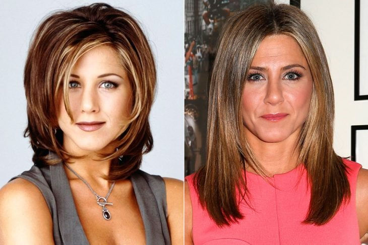 Jennifer Aniston antes y después de maquillar sus cejas con maquillaje
