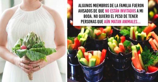Novia vegana prohíbe la entrada a su boda a familiares y amigos que comen carne