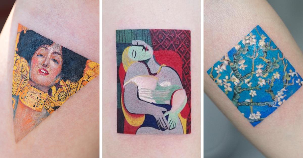 Artista coreana crea tatuajes inspirados por famosos pintores