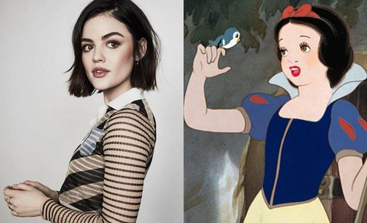 Princesas Disney si fueran famosas de la vida real, actriz Lucy Hale como Blancanieves