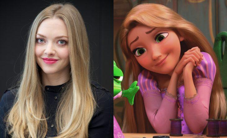 Princesas de películas Disney si fueran famosas de la vida real, actriz Amanda Seyfried como Rapunzel de Tangled