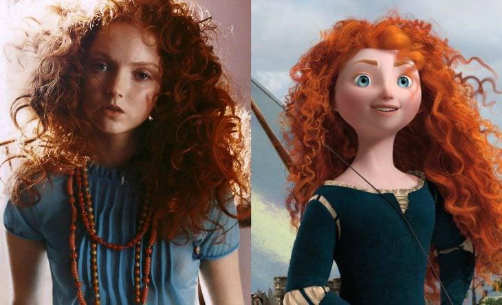 Princesas de películas Disney si fueran famosas de la vida real, actriz Lily Cole como Mérida de Valiente