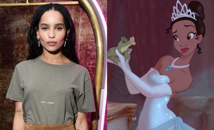 Princesas de películas Disney si fueran famosas de la vida real, Zoë Kravitz como Tiana de La princesa y el sapo