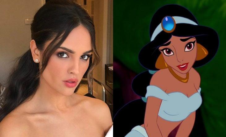 Princesas de películas Disney si fueran famosas de la vida real, actriz mexicana Eiza González como Jazmin de Aladín