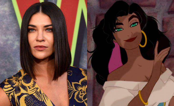 Princesas de películas Disney si fueran famosas de la vida real, actriz Jessica Szohr como Esmeralda de la película El jorobado de Notre Dame