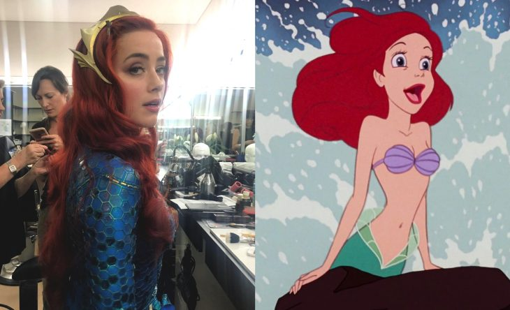 Princesas de películas Disney si fueran famosas de la vida real, actriz pelirroja Amber Heard como Ariel de la Sirenita