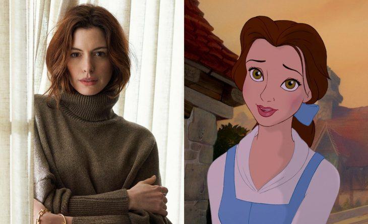 Princesas de películas Disney si fueran famosas de la vida real, actriz Anne Hathaway como Bella de La bella y la bestia