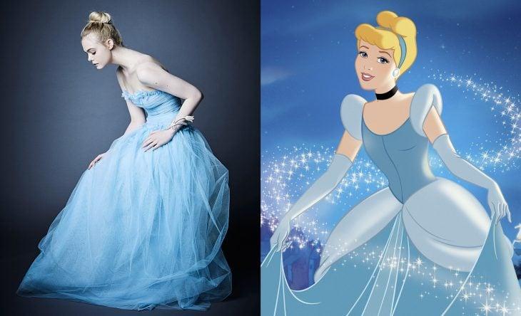 Princesas de películas Disney si fueran famosas de la vida real, actriz Elle Fanning como La Cenicienta
