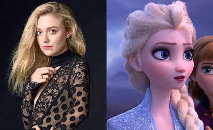 Princesas de películas Disney si fueran famosas de la vida real, Dakota Fanning como Elsa de Frozen