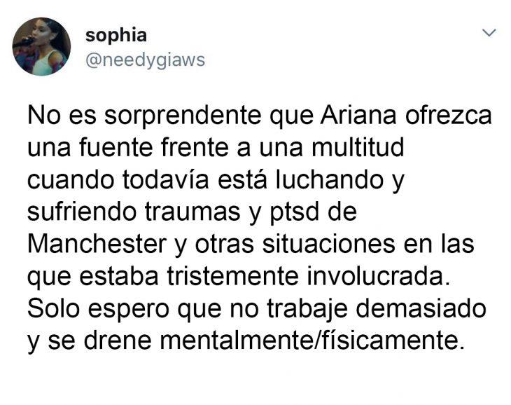 Tuit que habla sobre la preocupación de la enfermedad de Ariana Grande