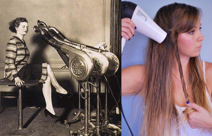 Artículos viejos y nuevos de belleza; secadora antigua y moderna