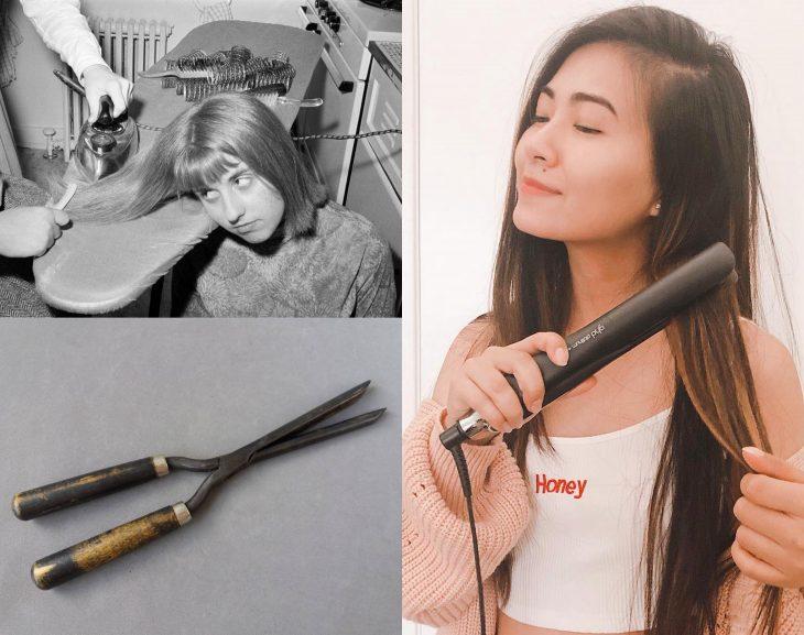 Artículos viejos y nuevos de belleza; plancha para alaciar cabello antigua y moderna