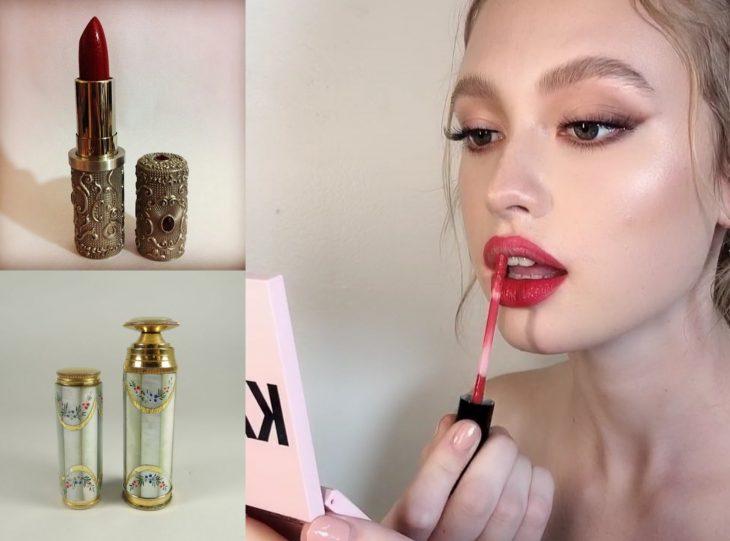 Artículos viejos y nuevos de belleza; labial antiguo y moderno de Kylie Cosmetics