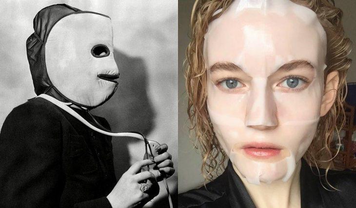 Artículos viejos y nuevos de belleza; máscara para rejuvenecimiento facial antigua y moderna