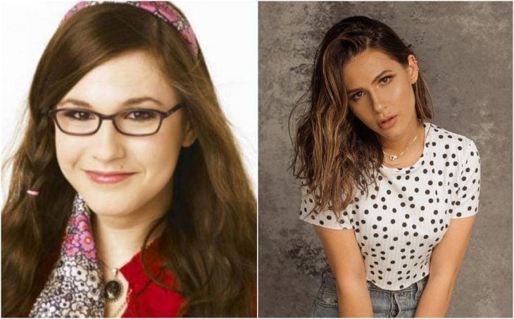 Erin Sanders antes y después, sentada en un banquito, modelando ropa casual, después de haber salido en Zoey 101