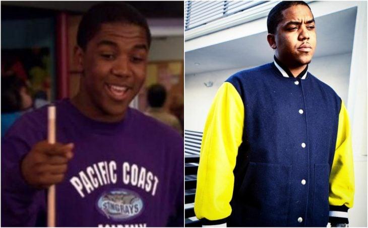 Christopher Massey antes y después, caminando por una avenida, modelando una chaqueta deportiva amarilla