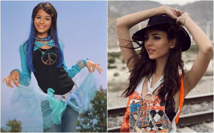 Victoria Justice antes y después, modelando ropa casual sobre unas vías de tren en un lugar vacío
