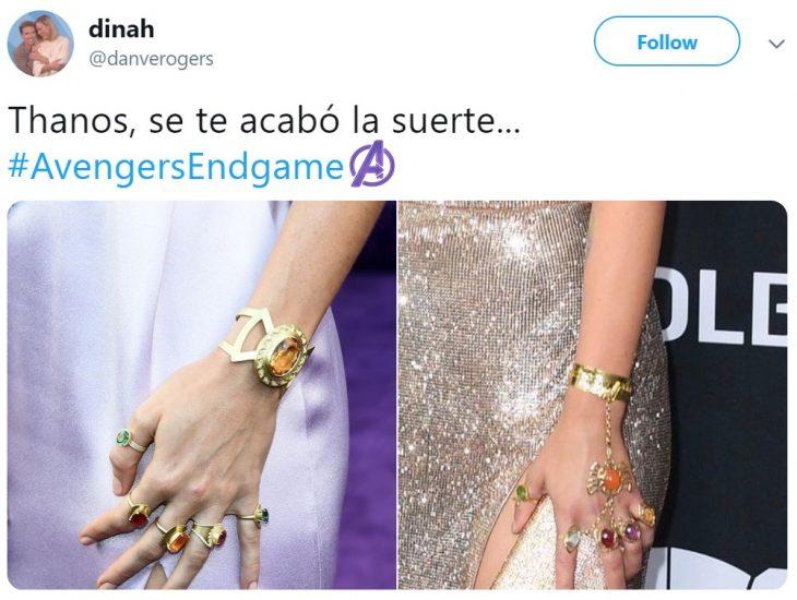 Twitter reacciona a Scarlett Johansson que interpreta a la Viuda Negra y Brie Larson en el papel de Capitana Marvel en la premiere de la película de Avengers: Endgame en Los Angeles, usando las gemas del infinito