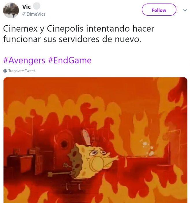 Memes de Cinépolis y Cinemex en Twitter sobre preventa de boletos para Avengers: endgame, meme de Bob Esponja apagando fuego