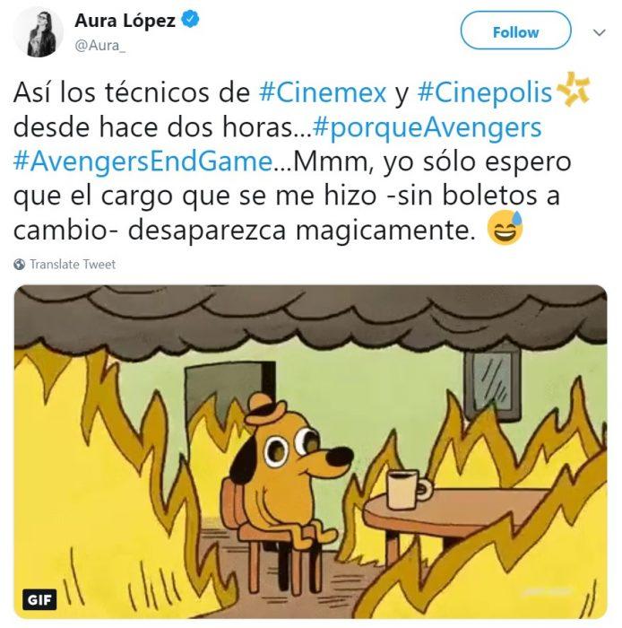 Memes de Cinépolis y Cinemex en Twitter sobre preventa de boletos para Avengers: endgame, meme de perro sentado entre el fuego