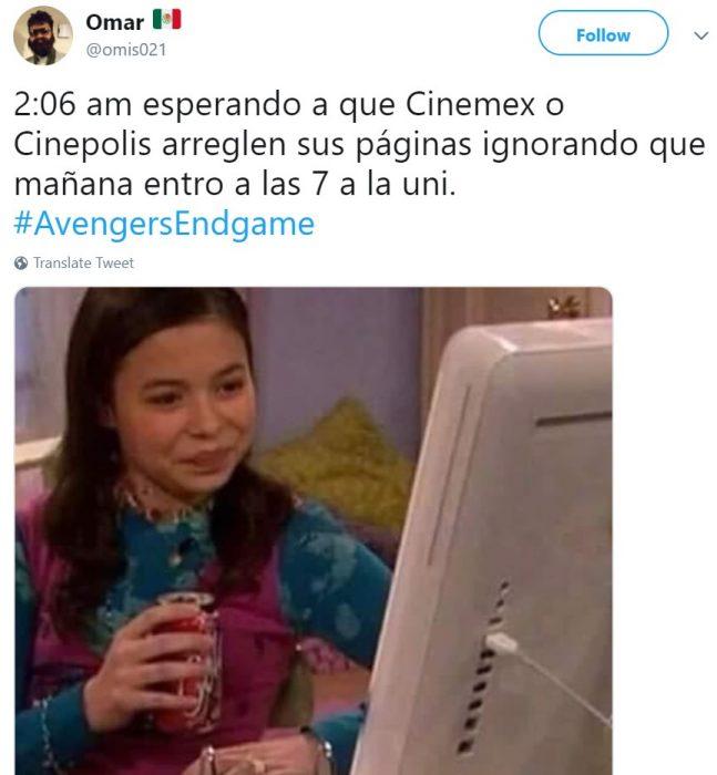 Memes de Cinépolis y Cinemex en Twitter sobre preventa de boletos para Avengers: endgame, meme de Megan de Drake y Josh