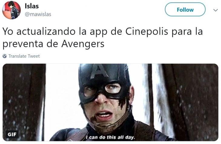 Memes de Cinépolis y Cinemex en Twitter sobre preventa de boletos para Avengers: endgame, meme de Capitán Amérrica