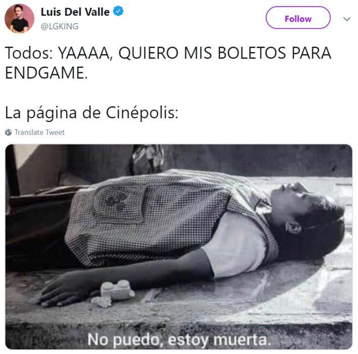 Memes de Cinépolis y Cinemex en Twitter sobre preventa de boletos para Avengers: endgame, meme de Roma