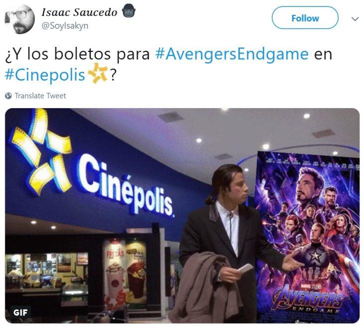 Memes de Cinéolis y Cinemex en Twitter sobre preventa de boletos para Avengers: endgame, meme de John Travolta confundido