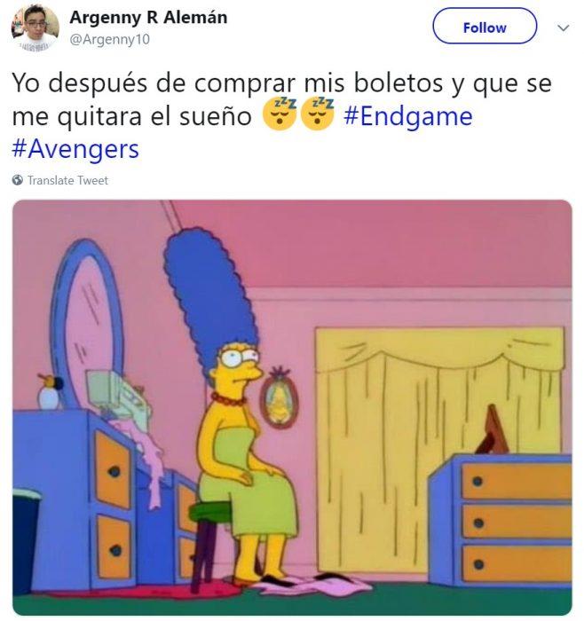 Memes de Cinépolis y Cinemex en Twitter sobre preventa de boletos para Avengers: endgame, meme de Marge Simpson sentada