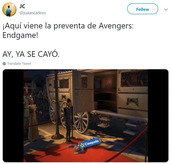 Memes de Cinépolis y Cinemex en Twitter sobre preventa de boletos para Avengers: endgame, meme de Shrek
