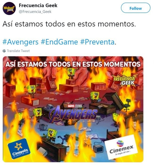 Memes de Cinépolis y Cinemex en Twitter sobre preventa de boletos para Avengers: endgame, meme de Bob Esponja