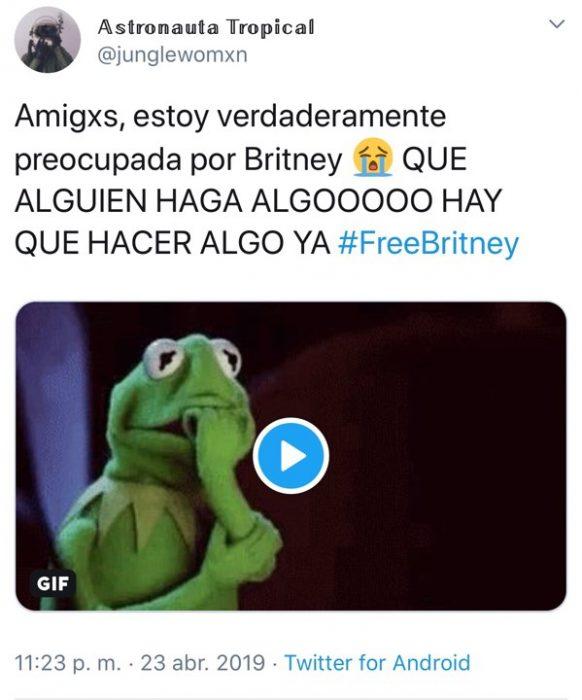 Tuit de fan que habla sobre su preocupación por la cantante Britney Spears y su condición actual