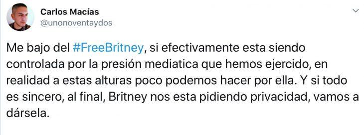 Tuit de fan que menciona que respetará la privacidad de Britney Spears
