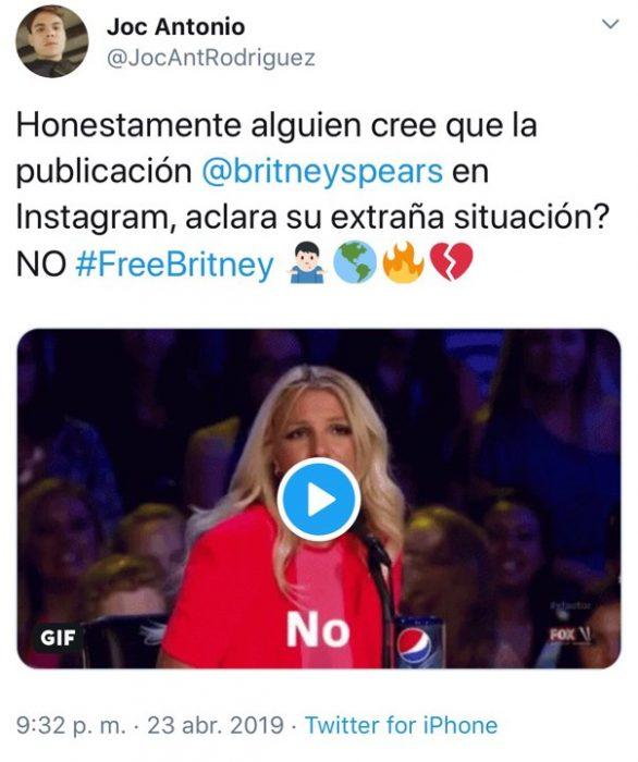 Tuit de fan de la cantante Britney Spears acerca de su situación mental