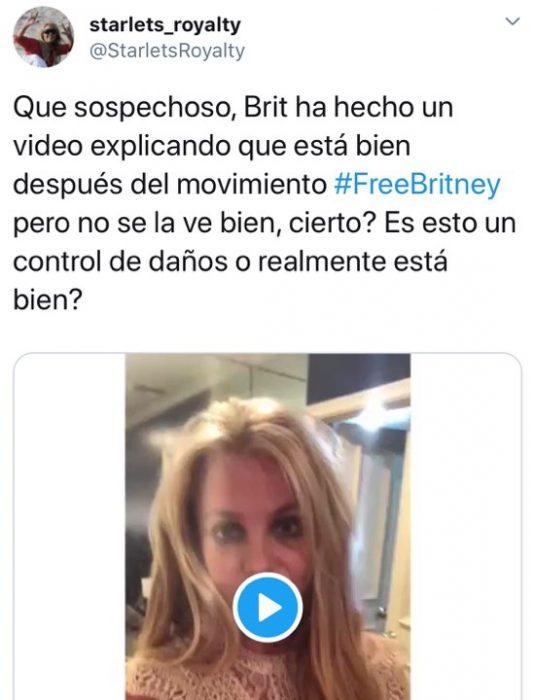Tuit que habla sobre el vídeo de la cantante Britney Spears donde desmintió estar contra su voluntad