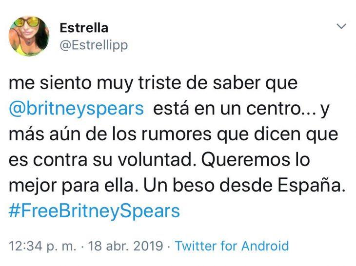 Tuit que habla sobre el apoyo incondicional que siempre le darán a la cantante Britney Spears