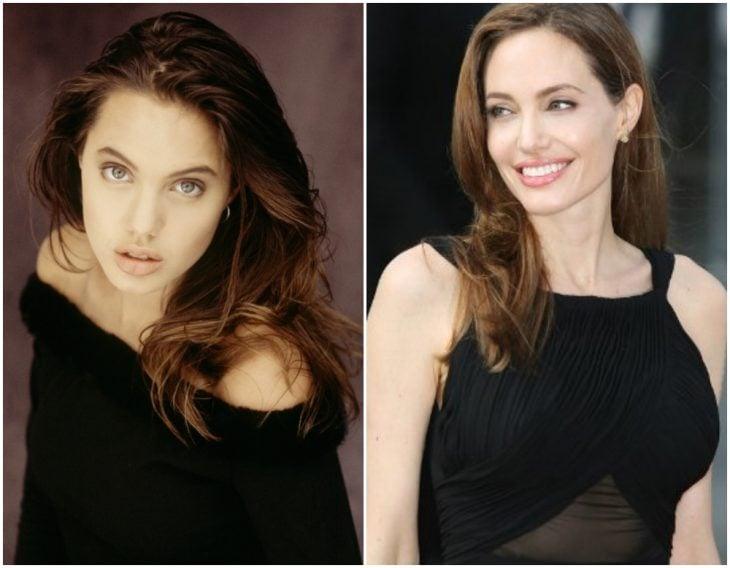 Angelina Jolie antes y después de operarse el busto