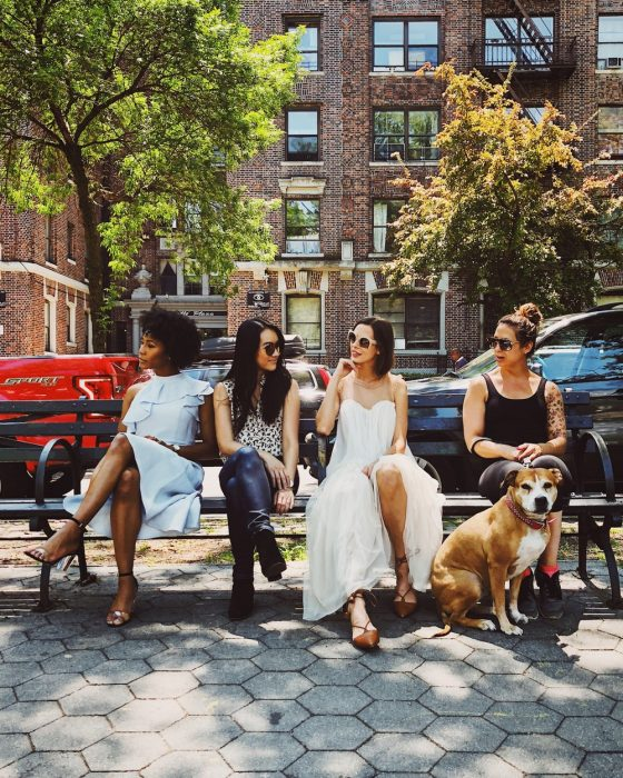 Group of women sitting on the bench in a park while chatting about the subject of breasts more intelligent women