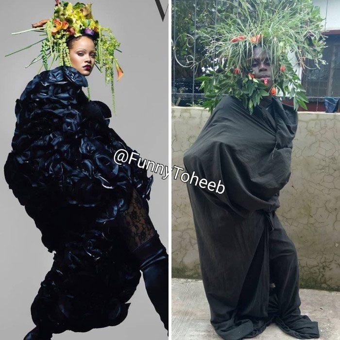 Chica posando para una fotografía, parada de perfil, cubriendo su cuerpo entero con una sabana negra, llevando una corona de flores en la cabeza, chico imitando a Rihanna utilizando papel y plástico